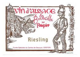 ETIQUETTE DE VIN D'ALSACE ILLUSTRATEUR E. NOACK  LA BOUTEILLE DU POMPIER - White Wines