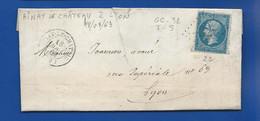 Lettre Avec Timbre Napoléon  III  N° 22  Oblitération G Chiffre  32  AINAY LE CHÂTEAU 18 Aout  1863 - 1849-1876: Période Classique