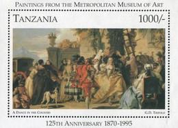 "Tanzania, 1996, Mi 2328, The 125th Ann. Of Metropolitan Museum Of Art, Tiepolo ""A Dance In The Country"", Block 321, MNH - Danza"