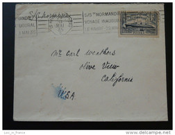 Lettre Cover Voyage Inaugural Maiden Trip Paquebot Normandie Le Havre New York 1935 Timbre Decaris - Ships