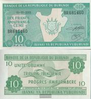 Burundi Pick-number: 33d (2003) Uncirculated 2003 10 Francs - Burundi