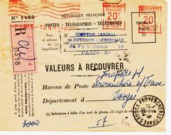 France ,  De Paris 124 En 1954,  Machine Havas Type B  Sur Recom Val à Recouvrer 20F DoubléeTB - Annullamenti Meccaniche (Varie)