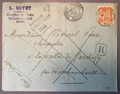 France N°94 Sur Enveloppe Recommandée De POUGUES-LES-EAUX, Nièvre - Retour à L'Envoyeur 1566 - (W1630) - 1877-1920: Semi Modern Period