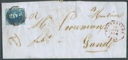 N°7 - Médaillon 20 Centimes Bleu, (margé) Obl. P.97 Sur Lettre De POPERINGHE Le 12 Juin 1856 Vers Gand.-TB - 17522 - 1851-1857 Medallones (6/8)
