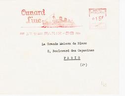 France , De Paris 96,  En 1951 Machine C 15 F Pub Cunard Line  ( Paquebot ) R TB - Annullamenti Meccaniche (Varie)
