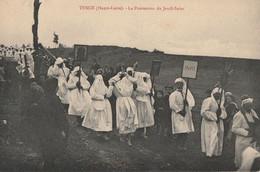 CARTE POSTALE ORIGINALE ANCIENNE : TENCE LA PROCESSION DU JEUDI SAINT LES PENITENTS  ANIMEE HAUTE LOIRE (43) - Sonstige Gemeinden