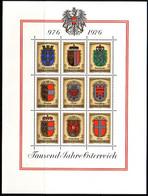 ÖSTERREICH BLOCK 4 POSTFRISCH(MINT) 1000 JAHRE ÖSTERREICH 1976 WAPPEN DER BUNDESLÄNDER - Blocks & Kleinbögen
