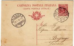 INTERI POSTALI - CARTOLINA POSTALE ITALIANA - TIMBRO BRISSAGO - 1912 - TICINO - SVIZZERA - Stamped Stationery