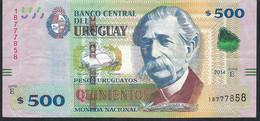 URUGUAY P97 500 PESOS URUGUAYOS 2014 Serie E Signature 30   VF NO P.h. - Uruguay