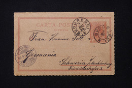 ROUMANIE - Entier Postal De Bucarest Pour L'Allemagne En 1896 - L 92151 - Entiers Postaux