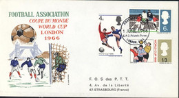 FDC Football Association World Cup London 1966 CAD First Day Of Issue 1 JUNE 1966 G.P.O. Philatelic Bureau London - 1952-71 Ediciones Pre-Decimales