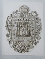 Ex-libris Ou Représentation Héraldique Illustrée XIXème  - TOURNAI - CHAPITRE NOTRE DAME - Bookplates