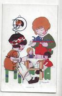 Deux Enfants, Poupées. La Dinette. Signée Vanasek. - Non Classificati