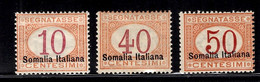 Somalie Italienne Timbres Taxe YT N° 13 II, N° 16 II Et N° 17 II Neufs ** MNH. TB. A Saisir! - Somalia