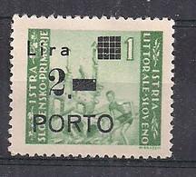 OCCUPAZIONE JUGOSLAVIA 1946 ISTRIA E LITORALE SLOVENO SEGNATASSE SASS.9 MLH XF - Occ. Yougoslave: Littoral Slovène