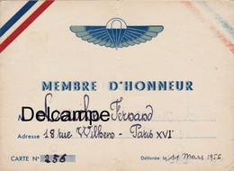 """Carte De L """" Amicale Des Anciens Parachutistes S.A.S - Mars 1956 - Documents"""