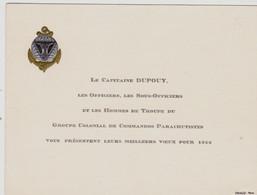 """Carte De Voeux : """"Le Capitaine DUPOUY - Groupe Colonial De Commandos Parachutistes - 1956 - Documentos"""