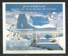 INDIA, 2009, FIRST DAY MUMBAI  CANCELLED, Preserve The Polar Regions And Glaciers, Snow, Penguin, Miniature Sheet, - Used Stamps