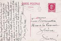 FRANCE 1943     ENTIER POSTAL/GANZSACHE/POSTAL STATIONARY CARTE - Standard- Und TSC-AK (vor 1995)