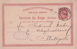 NORVEGE  1887      ENTIER POSTAL/GANZSACHE/POSTAL STATIONARY CARTE CHRISTIANIA - Ganzsachen