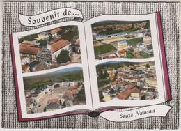 D79 - SAUZÉ VAUSSAIS-SOUVENIR DE SAUZÉ VAUSSAIS-CPSM Dentelée Colorisée Grand Format Multivues (4 Vues) Forme Livre - Sauze Vaussais
