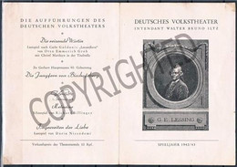 """AUSTRIA, WW2 THEATER Program """" DEUTCHES VOLKSTHEATER """" 1942 - 1943 Johannesgasse, 4 Wien - Theatre"""