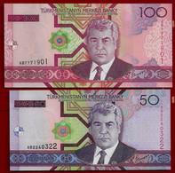 TURKMENISTAN BANKNOTE - 2 NOTES 50 + 100 MANAT 2005 P#17-18 UNC (NT#02) - Maldives