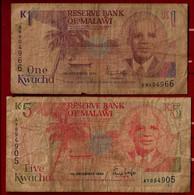AFRICA - MALAWI BANKNOTE - 2 USED NOTES 1 + 5 KWATCHA 1990 P#23-24 (NT#02) - Malawi