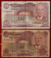AFRICA - MALAWI BANKNOTE - 2 USED NOTES 1 KWATCHA 1983 + 1986 P#14-19 (NT#02) - Malawi