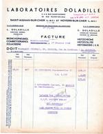 Facture Laboratoires  Doladille à St Aignan Et Noyers Sur Cher  En 1943. - 1900 – 1949