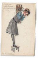 CARD MAUZAN TELEFONATA SU BANCHETTO TELEFONO CON MANOVELLA E CORNETTA 1918 -FP-V IN BUSTA-2-0882-29944 - Mauzan, L.A.