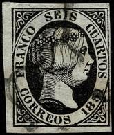1851.Ed:°6.Isabel II.6 Cuartos Negro.Matasello Araña Negra - Gebraucht