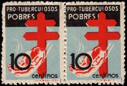 1937.MHN.Ed:**840(2).Protuberculosos.Pareja.10 Cts Rojo,negro Y Azul - 1931-50 Nuevos & Fijasellos