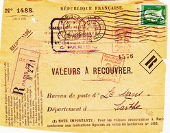 France , De  Paris 22 En 1925  Recom D' Office 15 C  Pasteur Et Complement  2 X 25 C  Havas Type A TB - Annullamenti Meccaniche (Varie)