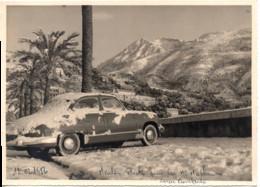 Menton  1956 Gde Photo 13x18cm Automobile Sous La Neige - Coches