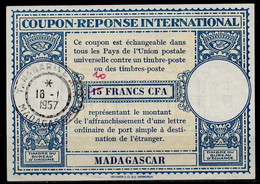 MADAGASCAR Lo15 ms. 20 / 15 FRANCS CFA International Reply Coupon Reponse IRC Antwortschein O TANANARIVE 16.1.57 - Covers & Documents
