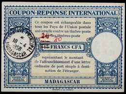 MADAGASCAR Lo15 ms. 30 / Handstamp 20 / 15 FRANCS CFA Int. Reply Coupon Reponse IRC Antwortschein O TAMATAVE 10.4.58 - Covers & Documents