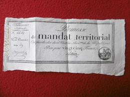 PROMESSE DE MANDAT TERRITORIAL BON POUR 25 FRANCS 28 VENTOSE AN 4 DE LA REPUBLIQUE - Assignats