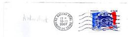 Timbre COUR DES COMPTES Autocollant De 2007 Sur Pli Ayant Voyagé. - Luchtpost