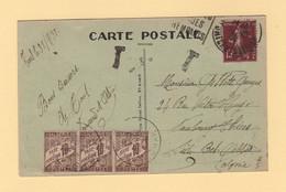 Toul Destination Sidi Bel Abbes Algerie - Carte Taxee A L Arrivee - 1921-1960: Modern Period