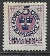 Sweden Scott # B5 Mint Hinged Numeral Stamp Surcharged, 1916 - Neufs