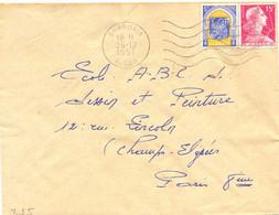 ALGERIE GHARDAIA ALGER OMec SECAP FLAMME DROITE 5.L.O W Du 26-12-1957 - Cartas