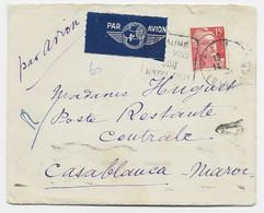 GANDON 15FR ROUGE SEUL LETTRE AVION DAGUIN BEAUNE 1949 POUR MAROC TAXE 10FR AU DOS POSTE RESTANTE - 1945-54 Marianne Of Gandon