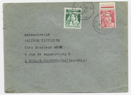 GANDON 15FR ROUGE SEUL LETTRE MARLENHEIM BAS RHIN 15.6.1950 + VIGNETTE VERTE AIR PUR MUTUALITE POSTALE - 1945-54 Marianne De Gandon
