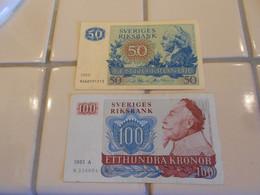 SWEDEN  1983 - 1989     -  50   AND  100  COWNS  BILLETS  -  HIGH GRADE - Svezia