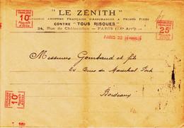 France, De Paris 22 En 1925 , Machine Havas Type A Trois Empreintes  Sur Grande Envel ZenithTB - Annullamenti Meccaniche (Varie)