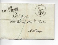 LOUVIERS Eure Facture Manufacture GERDRET 8/1828 + Marque 26 LOUVIERS     ..G - 1801-1848: Precursores XIX