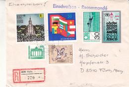 Allemagne - République Démocratique - Lettre Recom De 1990 - Oblit Halle - Affranchissement Mixte-drapeaux - Football - - Briefe U. Dokumente