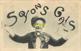 Editeur Bergeret, Soyons Gais, Clown Qui Jongle Avec Des Lettres, Carte Pas Courante Affranchie 1907 - Bergeret