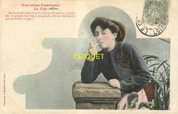 Editeur Bergeret, Nos Jolies Fumeuses, Jeune Femme Et Pipe, Carte Colorisée Affranchie 1906 - Bergeret